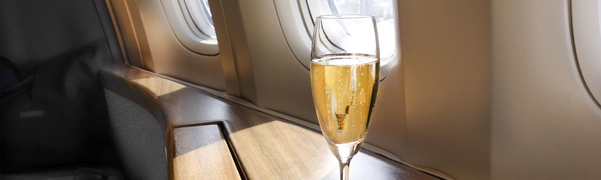 White wine near plane window