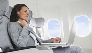 Woman sitting in a plane